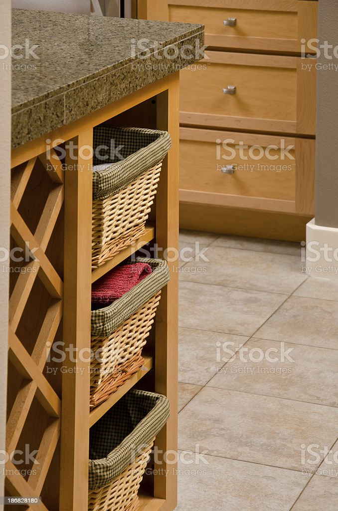 Close up of wine rack and baskets for storage royalty-free stock photo