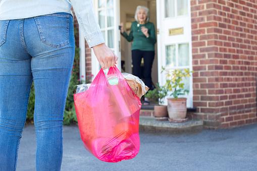 Close Up Of Woman Doing Shopping For Senior Neighbor - Fotografias de stock e mais imagens de 20-29 Anos