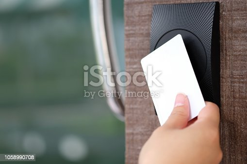 Electronic key access system with woman hand to lock and unlock doors.