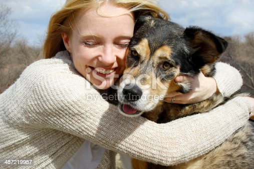 istock Close up of Woman Hugging German Shepherd Dog 487219987