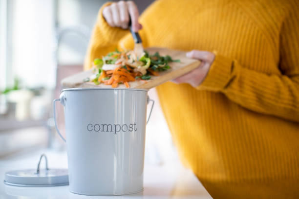Close Up Of Woman Making Compost From Vegetable Leftovers In Kitchen Close Up Of Woman Making Compost From Vegetable Leftovers In Kitchen leftovers stock pictures, royalty-free photos & images