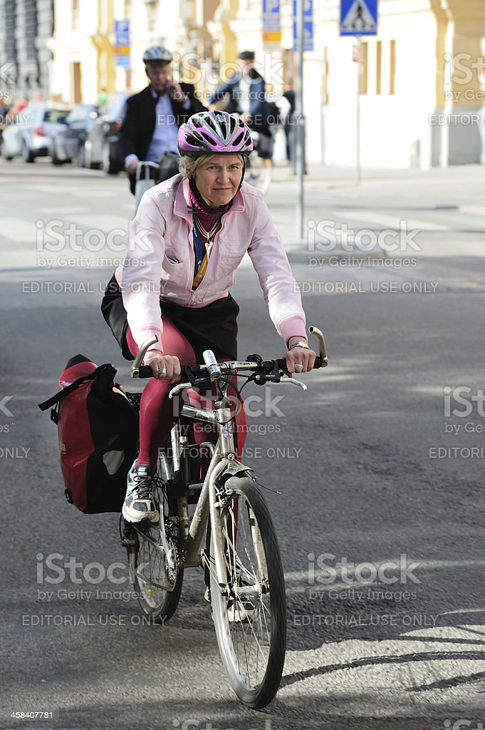 Close up of woman on bicycle royalty-free stock photo