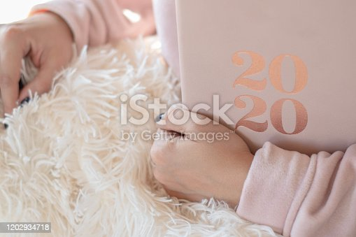 1162245415 istock photo Close Up Of Woman Opening New Year 2020 Diary On bed 1202934718