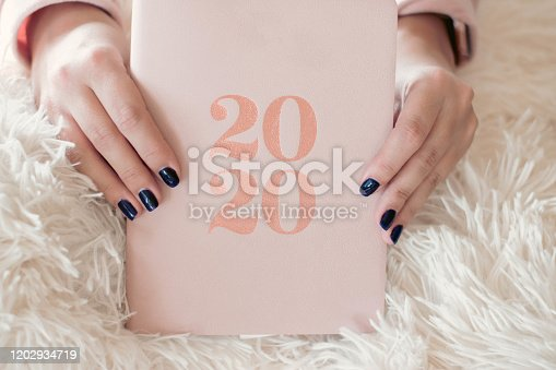 1162245415 istock photo Close Up Of Woman Opening New Year 2020 Diary On bed 1202934719