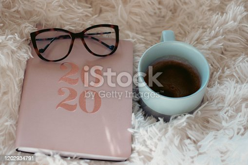 1162245415 istock photo Close Up Of Woman Opening New Year 2020 Diary On bed 1202934791