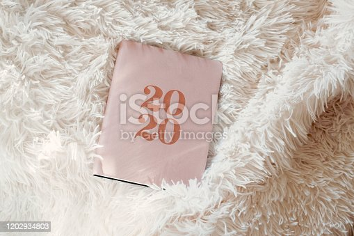 1162245415 istock photo Close Up Of Woman Opening New Year 2020 Diary On bed 1202934803
