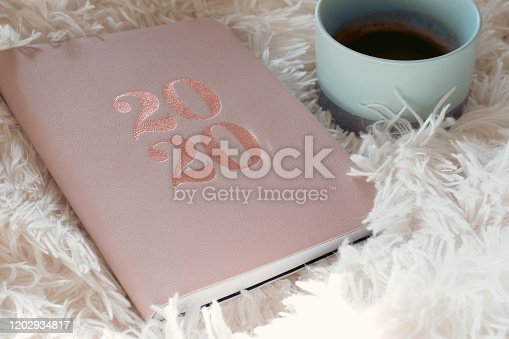 1162245415 istock photo Close Up Of Woman Opening New Year 2020 Diary On bed 1202934817