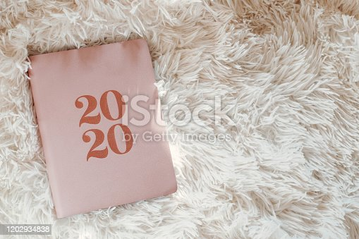 1162245415 istock photo Close Up Of Woman Opening New Year 2020 Diary On bed 1202934838