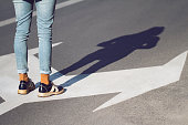 close up of woman shoes standing on the street