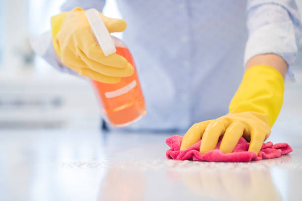 close up of woman using spray polish to clean kitchen surface - lysol stock pictures, royalty-free photos & images