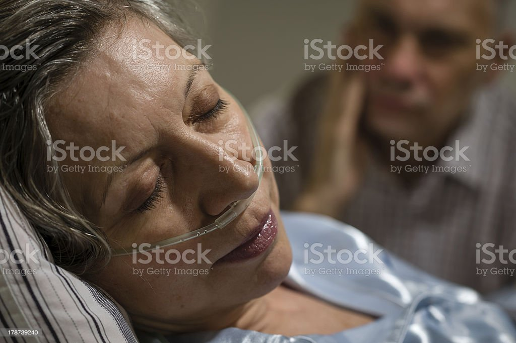 Close up of woman with nasal cannula stock photo