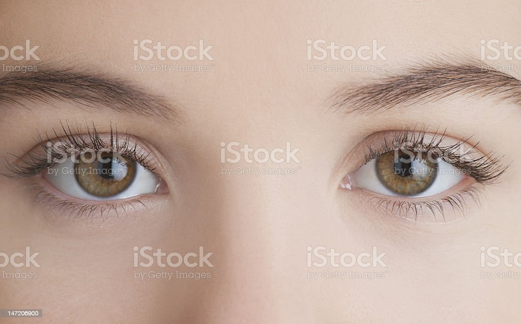Close up of woman's eyes stock photo