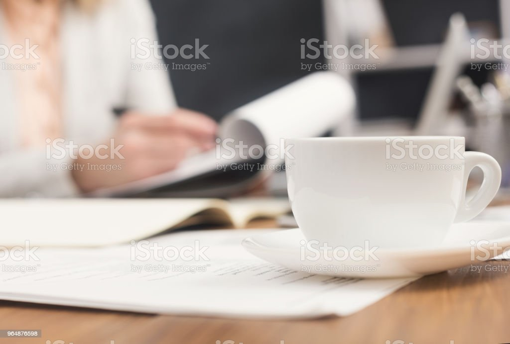Close up of woman's hands with documents royalty-free stock photo