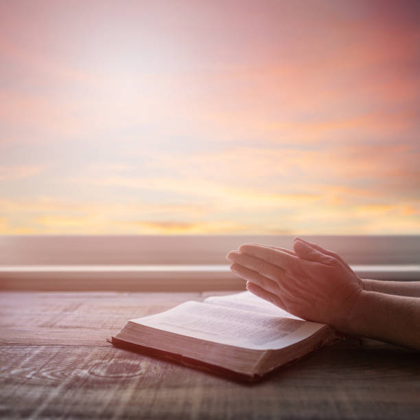 Close up of woman's praying hands reading Bible, with dramatic light. Wood table with sun rays coming through window. Christian image stock photo