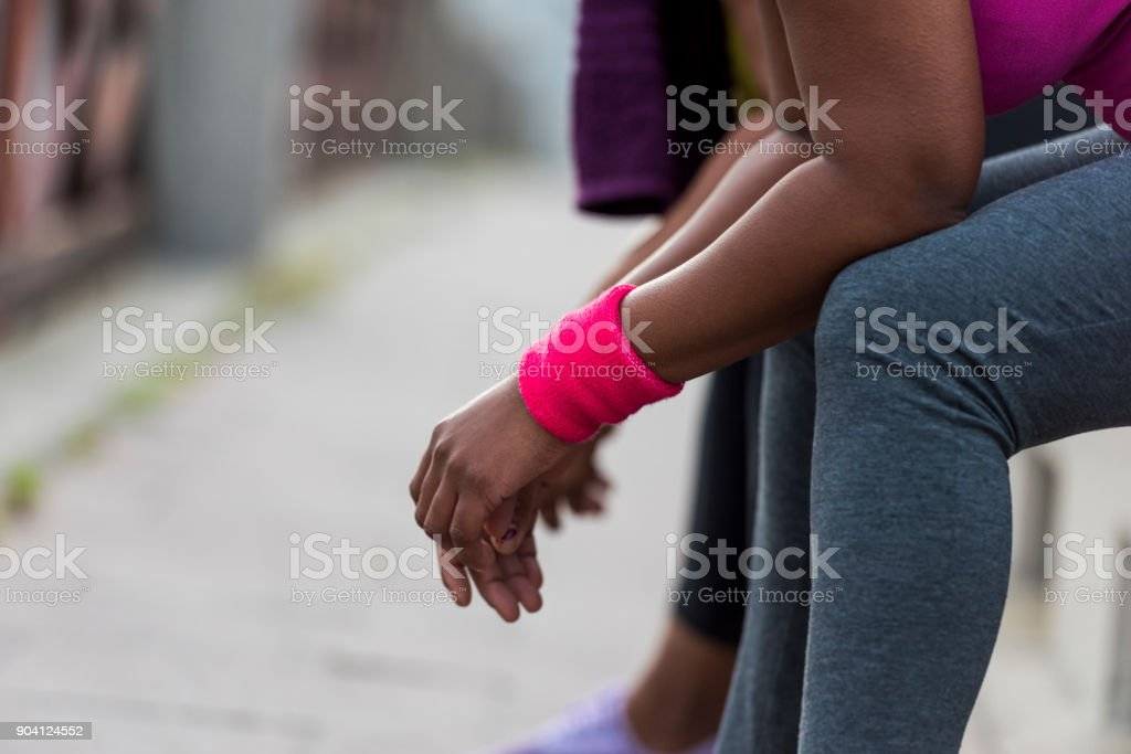 Close up of women resting after exercise stock photo