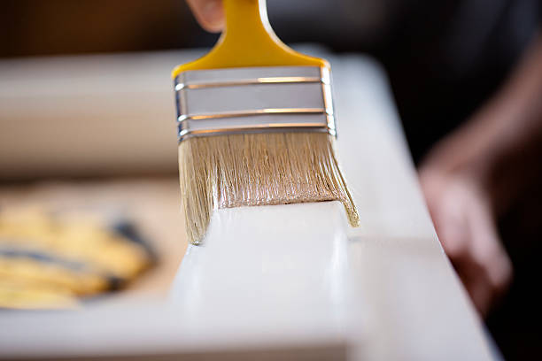 close up of wood painting - waldhandwerk stock-fotos und bilder