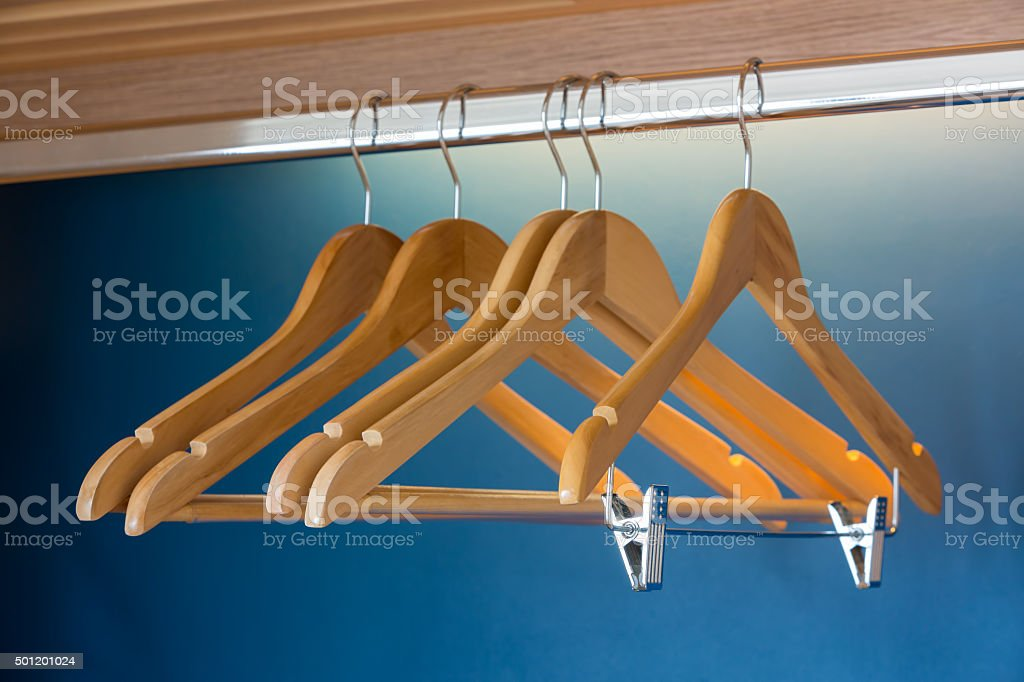 Close up of wooden hangers stock photo