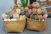 Close up of woolen balls of yarn balls Needlework Background