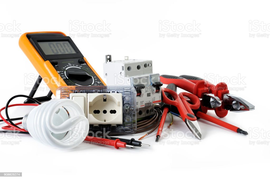 Close up of work tools and components for electrical installations, isolated on white background stock photo