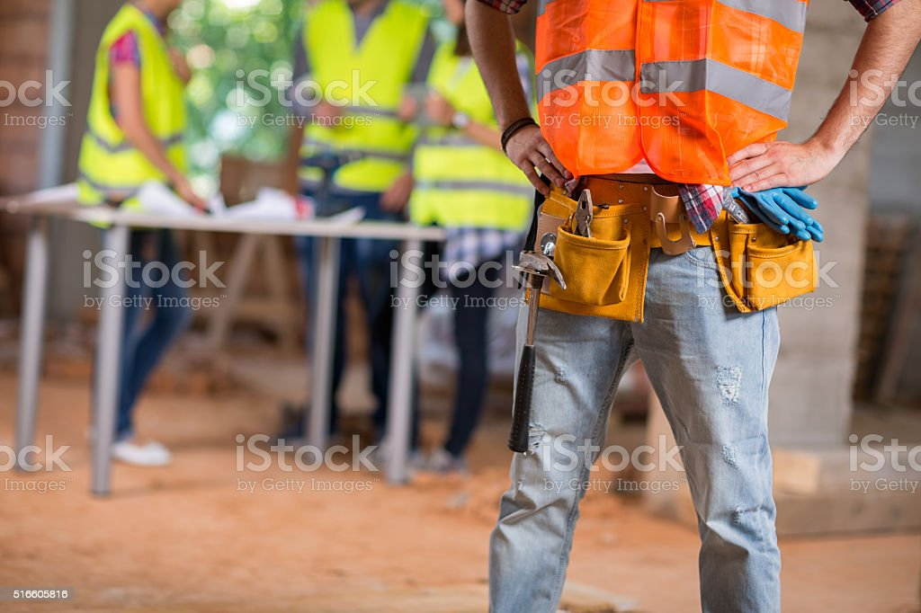 Close up of worker's belt stock photo