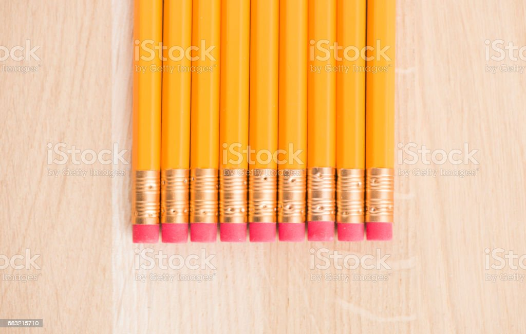Close up of yellow pencils on wooden table 免版稅 stock photo