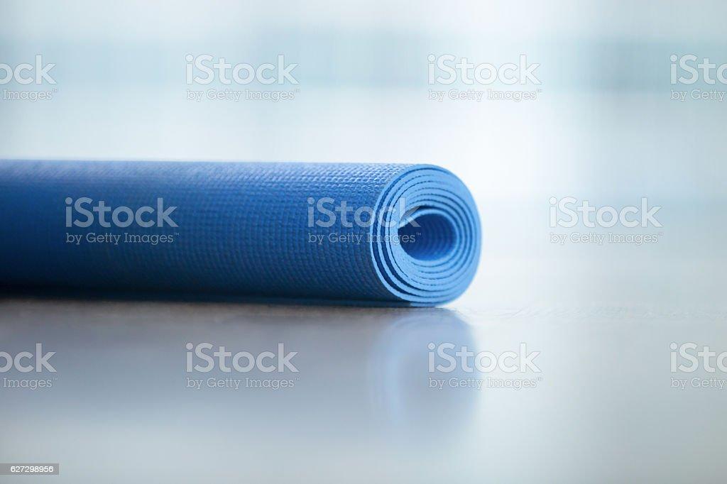Close up of yoga, fitness floor mat stock photo