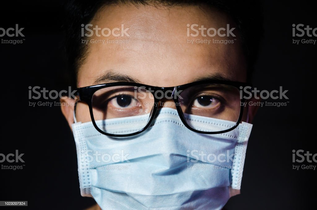 Glasses Annd Man Up Mask Young Of Close Hygienic Wearing Asian