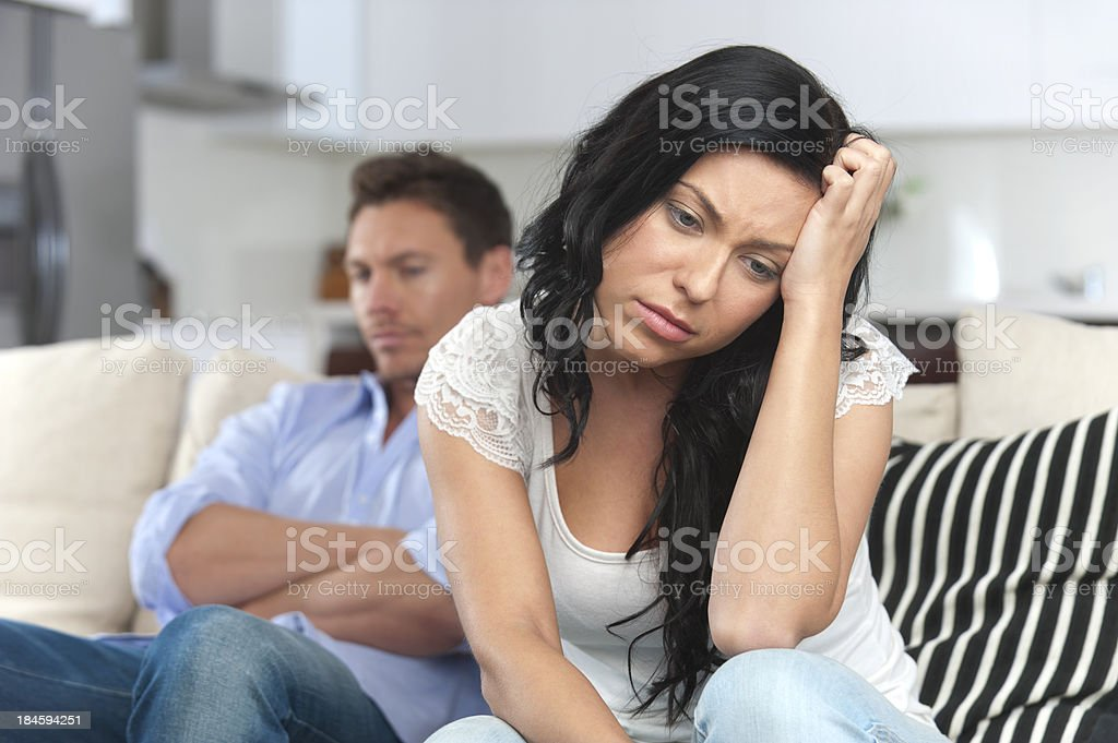 Close up of young couple fighting stock photo