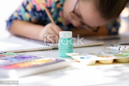 172382347 istock photo Close Up Of Young Girl Doing Art Class 1222486169