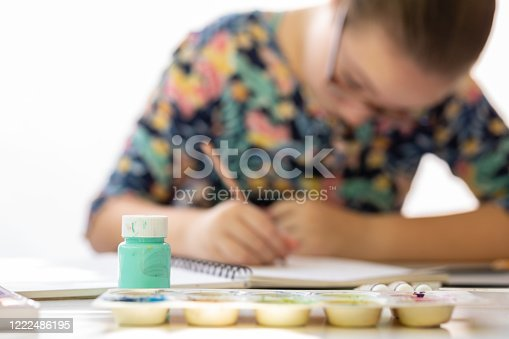 172382347 istock photo Close Up Of Young Girl Doing Art Class 1222486195