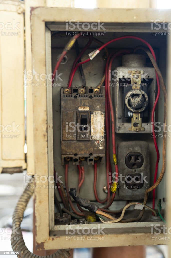 close up old and dirty breakers switch in electric box, circuit breakers,  electrical panel, switch with wires - stock image