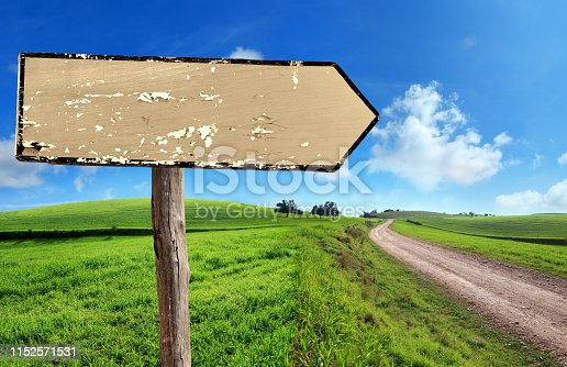 Close up old blank wooden directional sign on green grass field and country road over clear blue sky