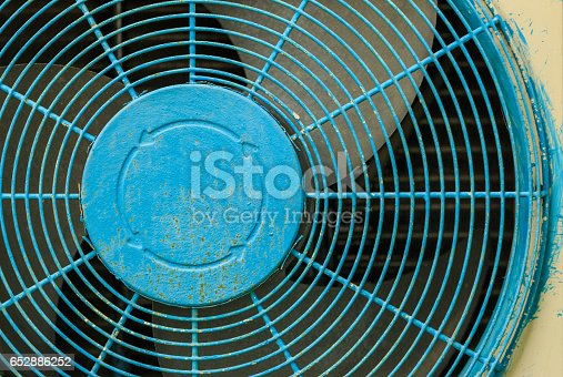 istock Close up old blue Grate of  Air Compressor 652886252