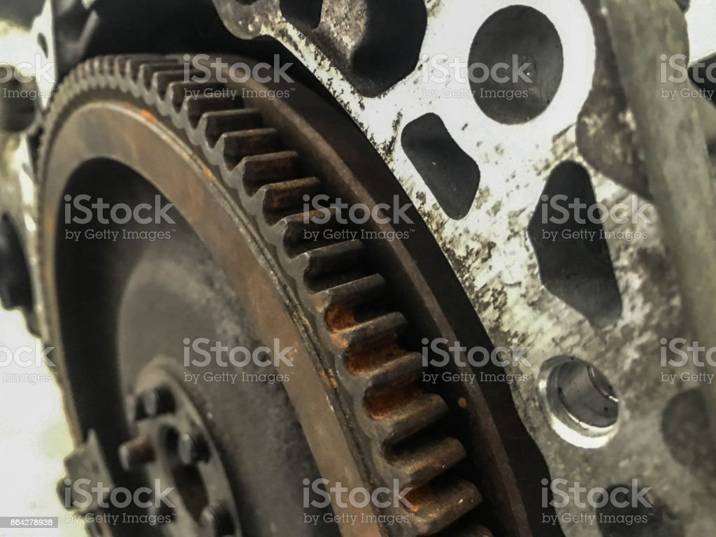 Close up old gear with rust stock photo