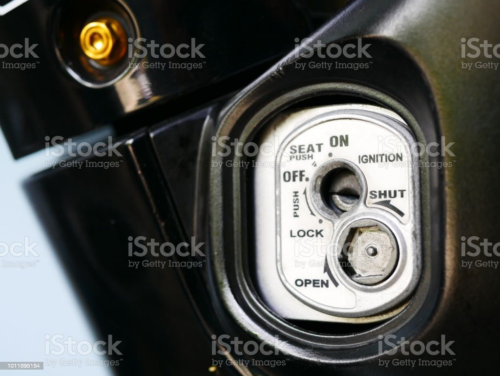 Close Up Old Ignition Key Start Of Motorcycle Stock Photo