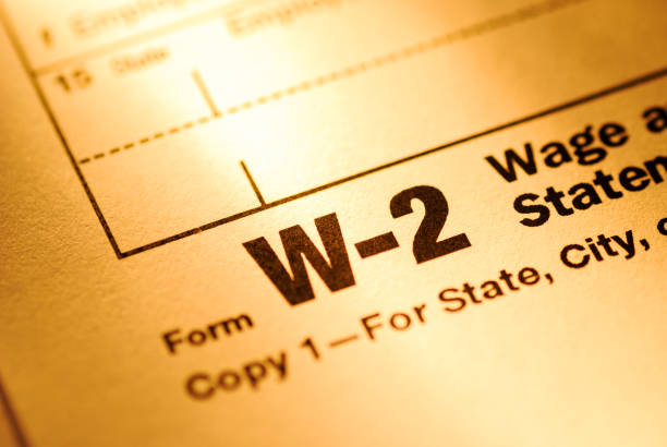 Close up on a Form W-2 Wage and Tax statement form stock photo