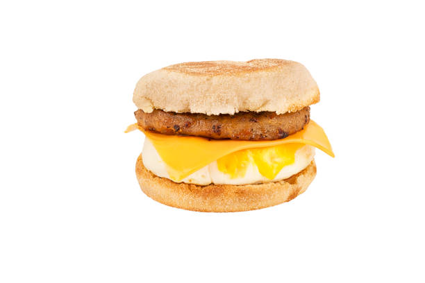 Close up on a sandwich breakfast isolated on white background. stock photo