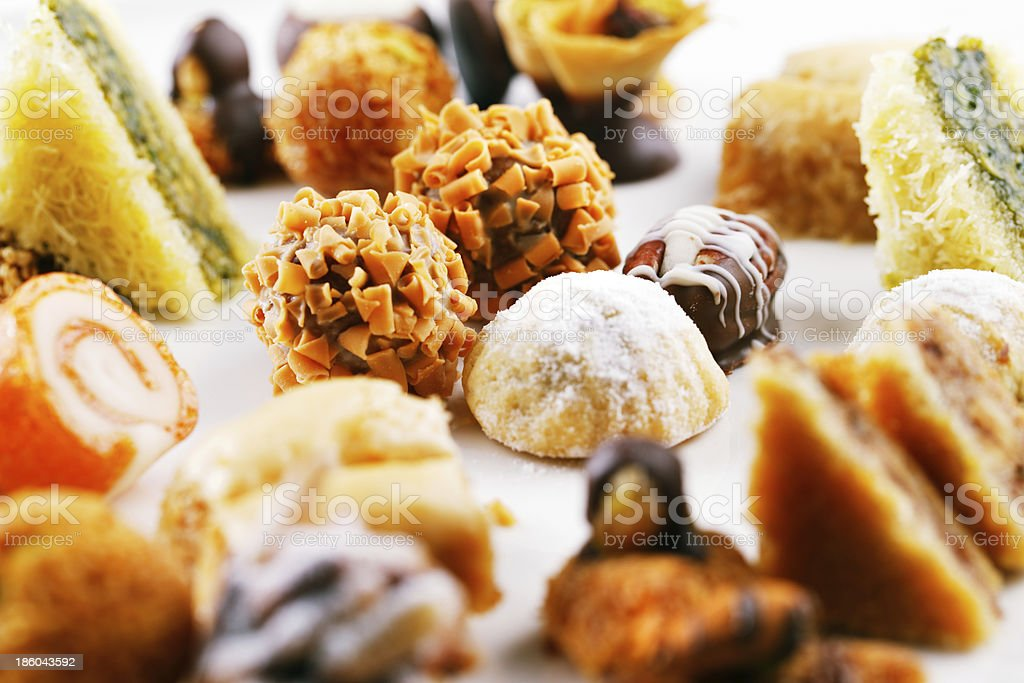 Close up on a variety of Arabic sweets royalty-free stock photo