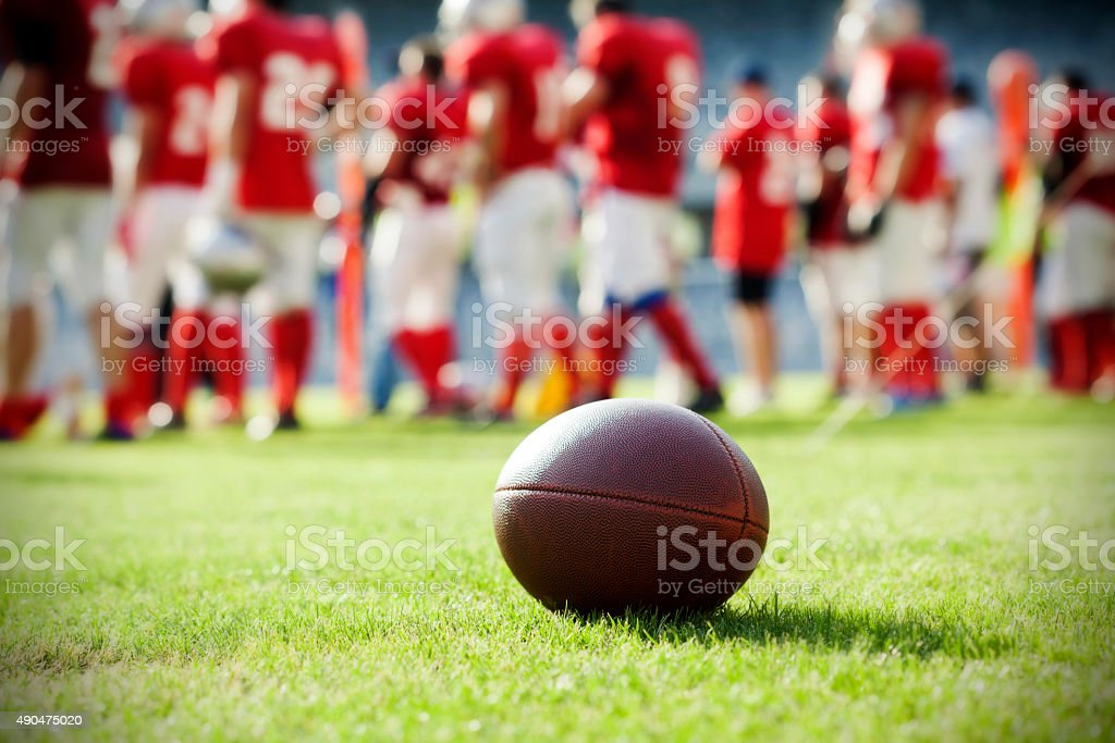 Close up on an american football ball stock photo