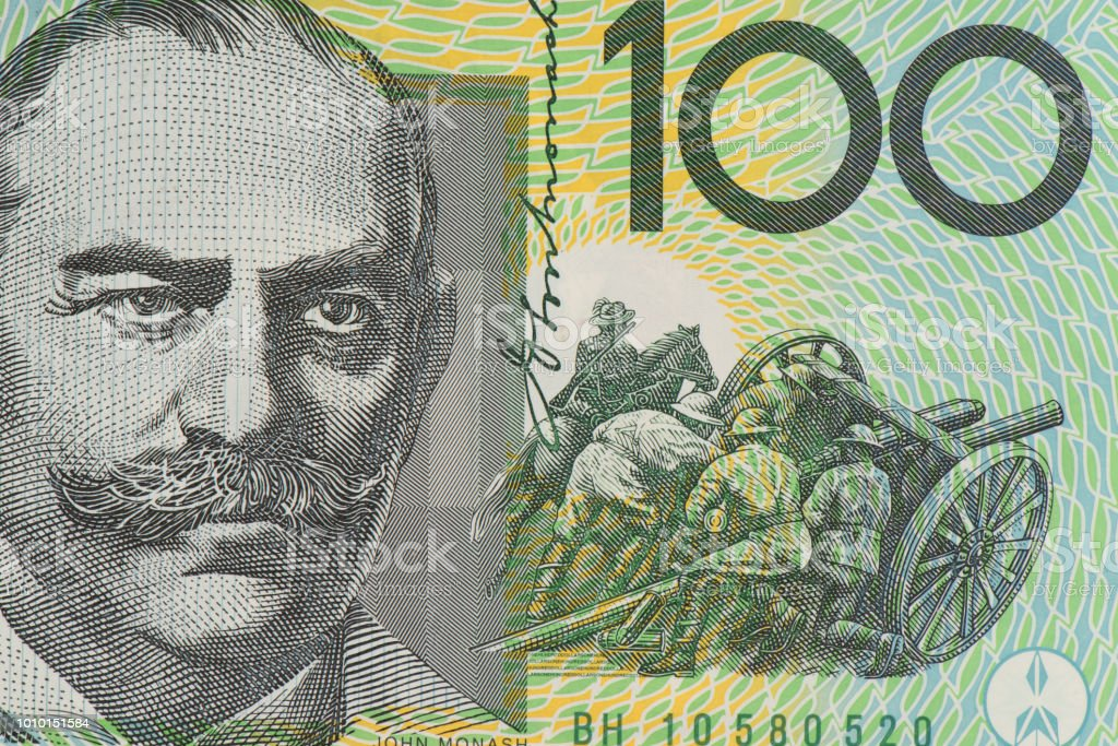 Close up on Australian dollar banknotes, Portrait AUD dollar for background and detail stock photo