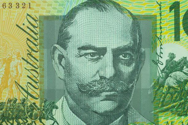 Hautnah auf australische Dollar-Banknoten. Porträt von JOHN MONASH auf 100AUD Banknoten. Aufnahme von 1:1 Makro-Objektiv. – Foto