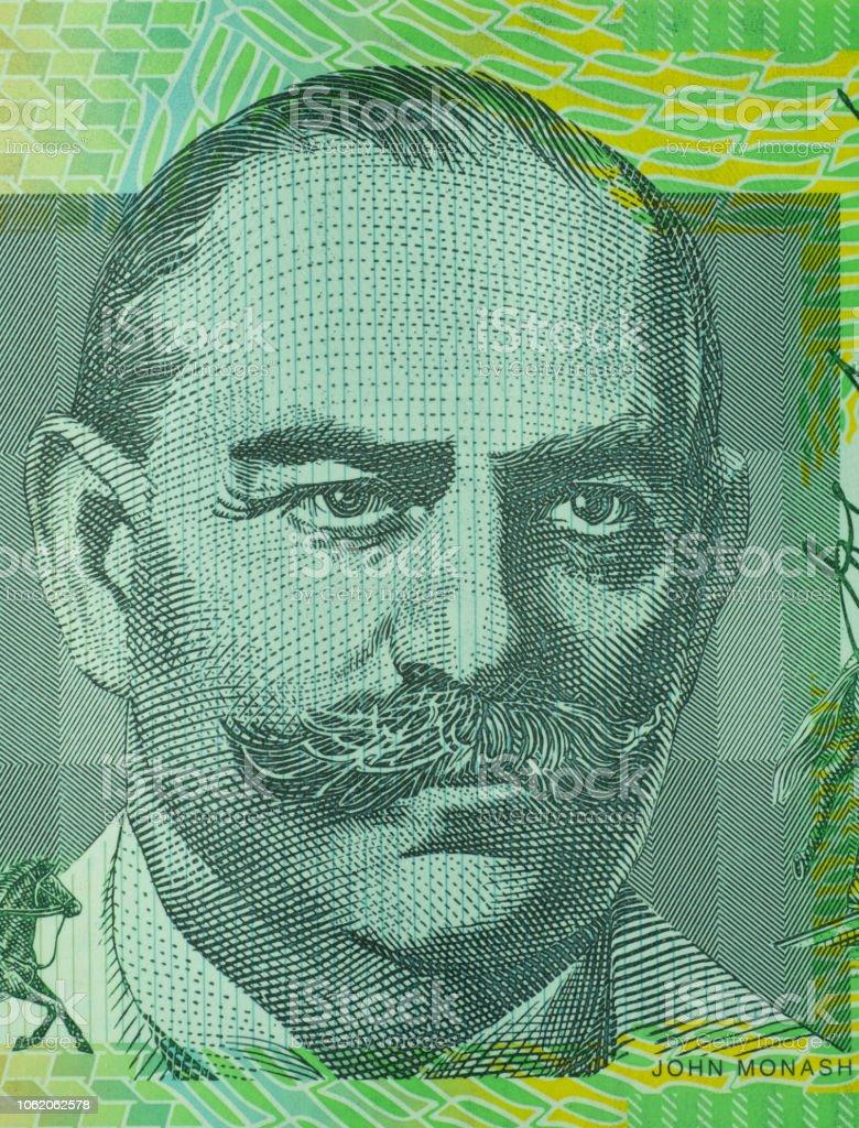 Close up on Australian dollar banknotes. Portrait of JOHN MONASH on 100AUD Banknotes. Shooting by 1:1 Macro lense. stock photo