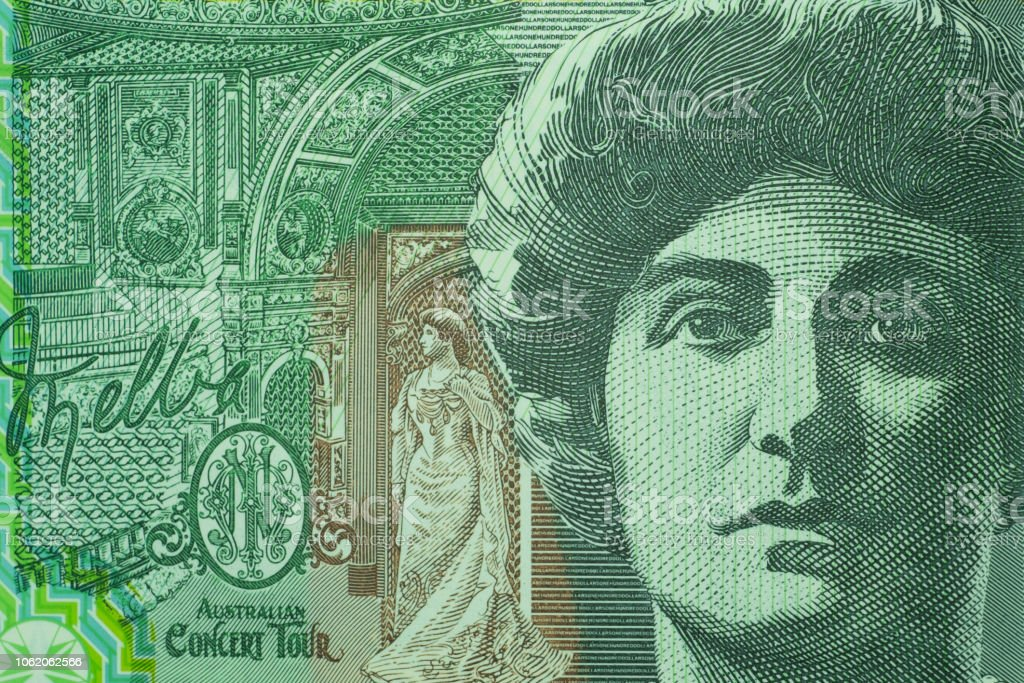 Close up on Australian dollar banknotes. Portrait of Nellie Melba on 100AUD banknotes. Shooting by 1:1 Macro lense for detail of Face, number etc. on banknotes. stock photo