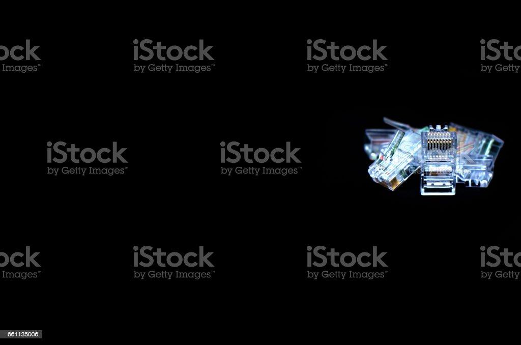 RJ45 Close up on black background foto stock royalty-free