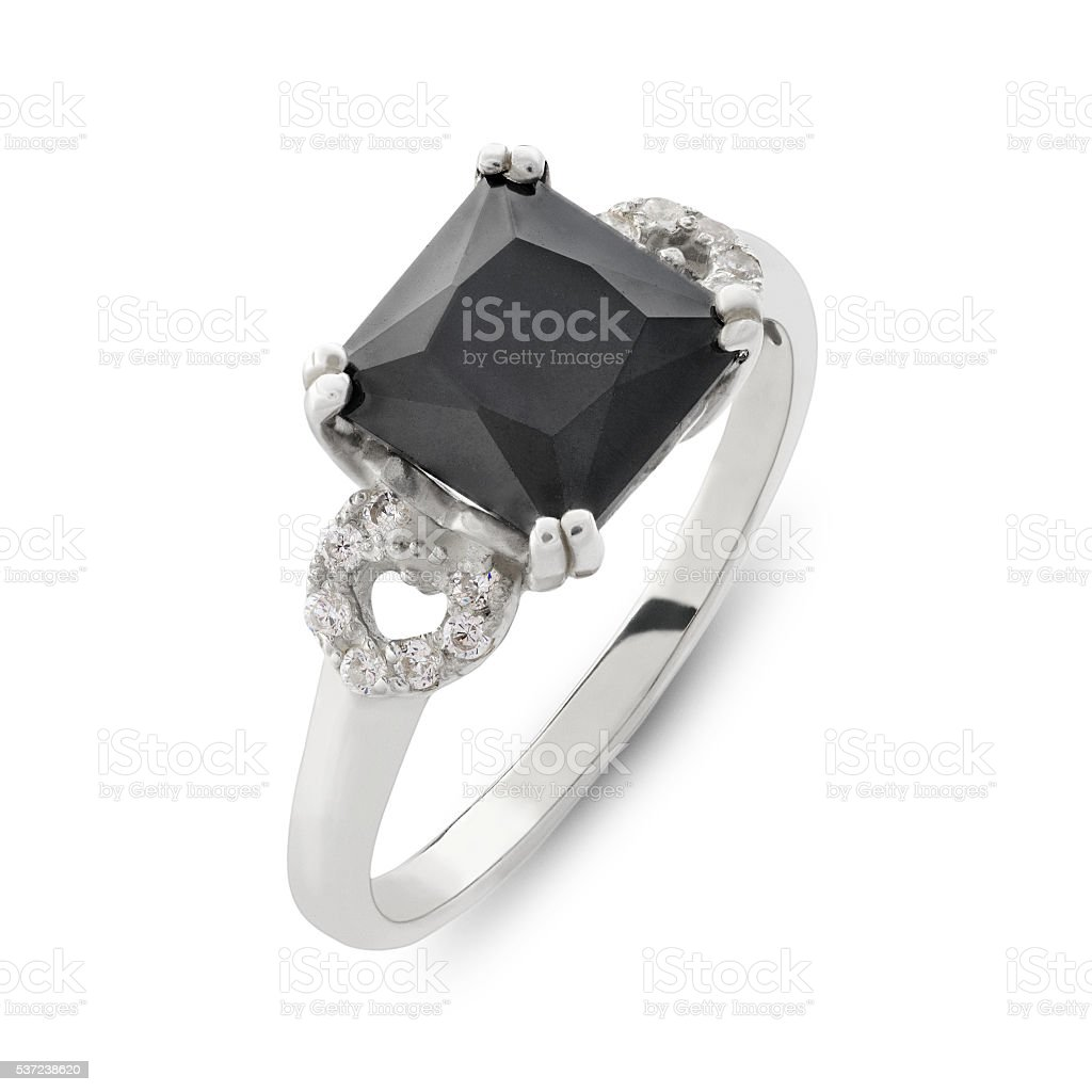 Close up on black gemstone and diamond ring stock photo