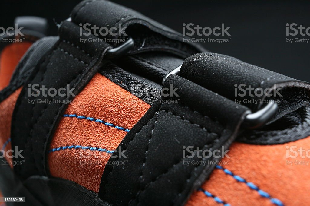 Close up on climbing boot stock photo