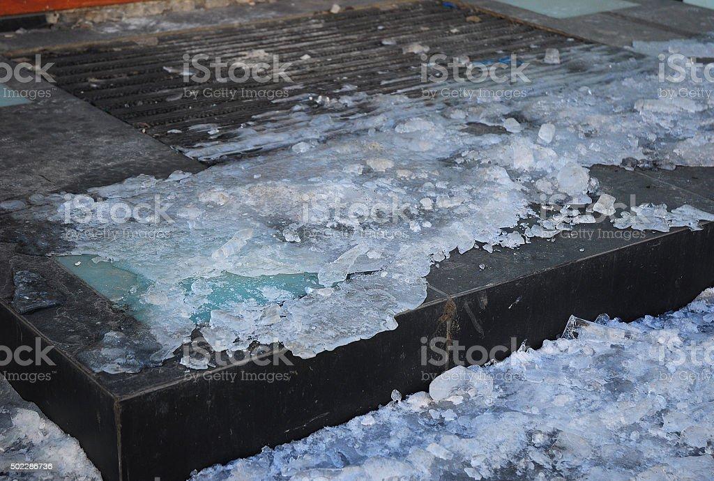 Close up on  Danger Frozen Steps. stock photo