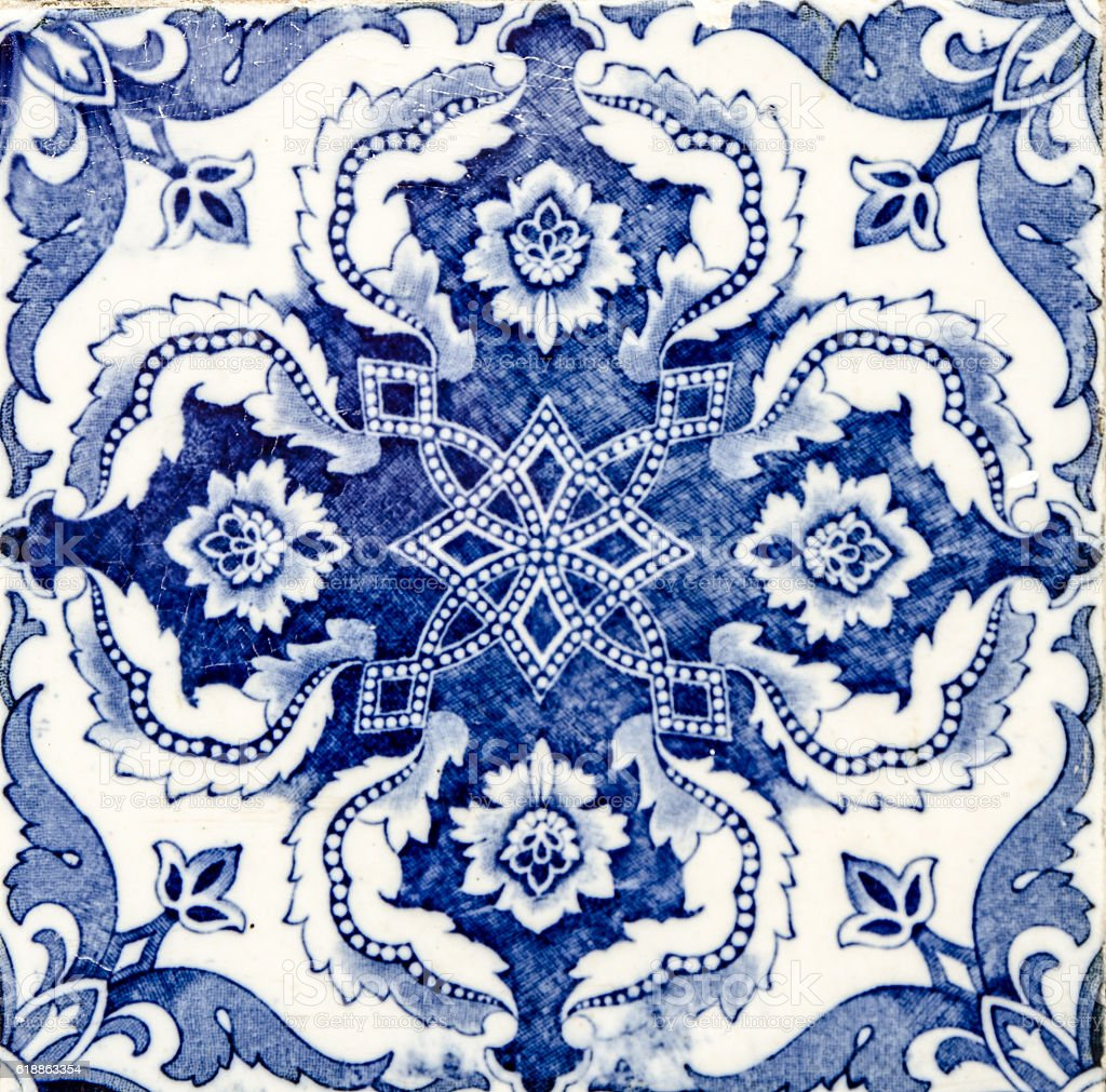 Close up on decorative ceramic tile - foto de acervo