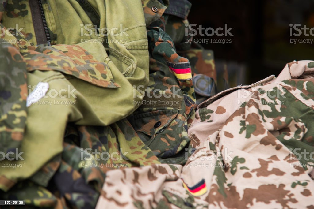 Close up on German flag on military uniform stock photo