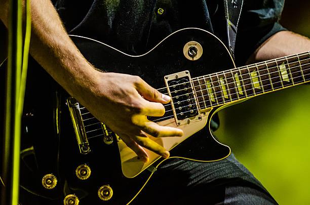 Close up on guitar